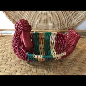 Small Vintage Red and Green Duck Basket